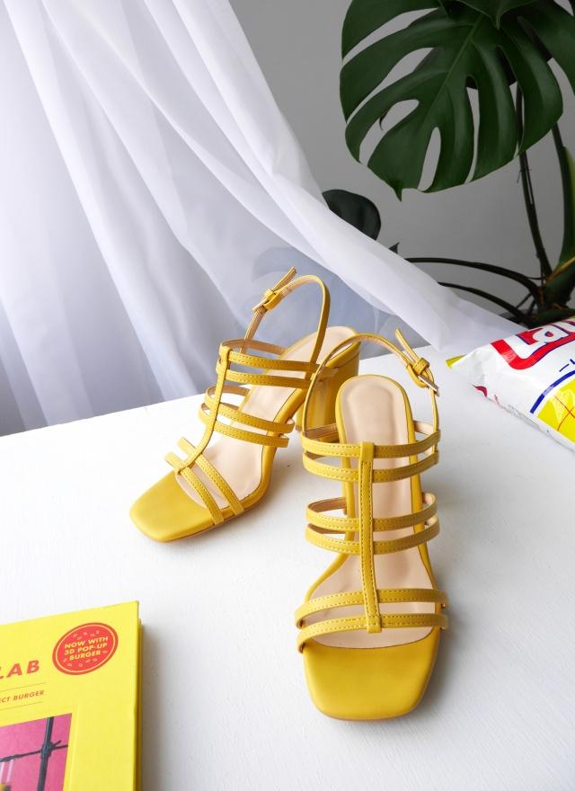 SH0147 雙帶拼接高跟涼鞋