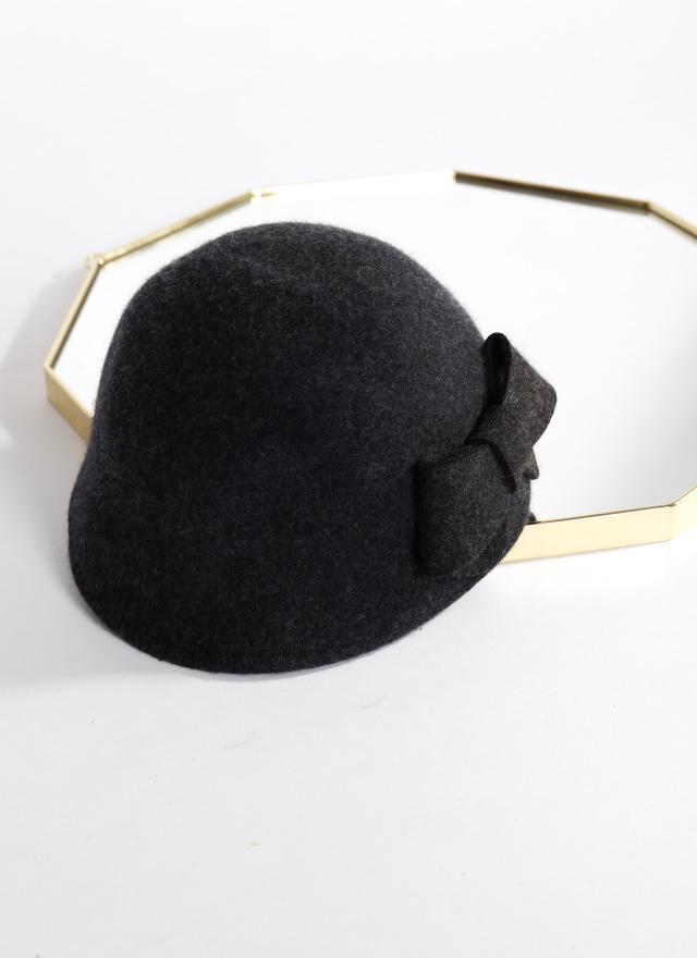 A0342絨面蝶結小圓帽