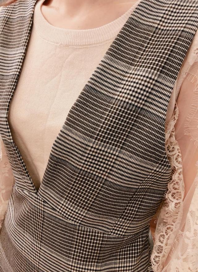 線紋交織背心洋裝